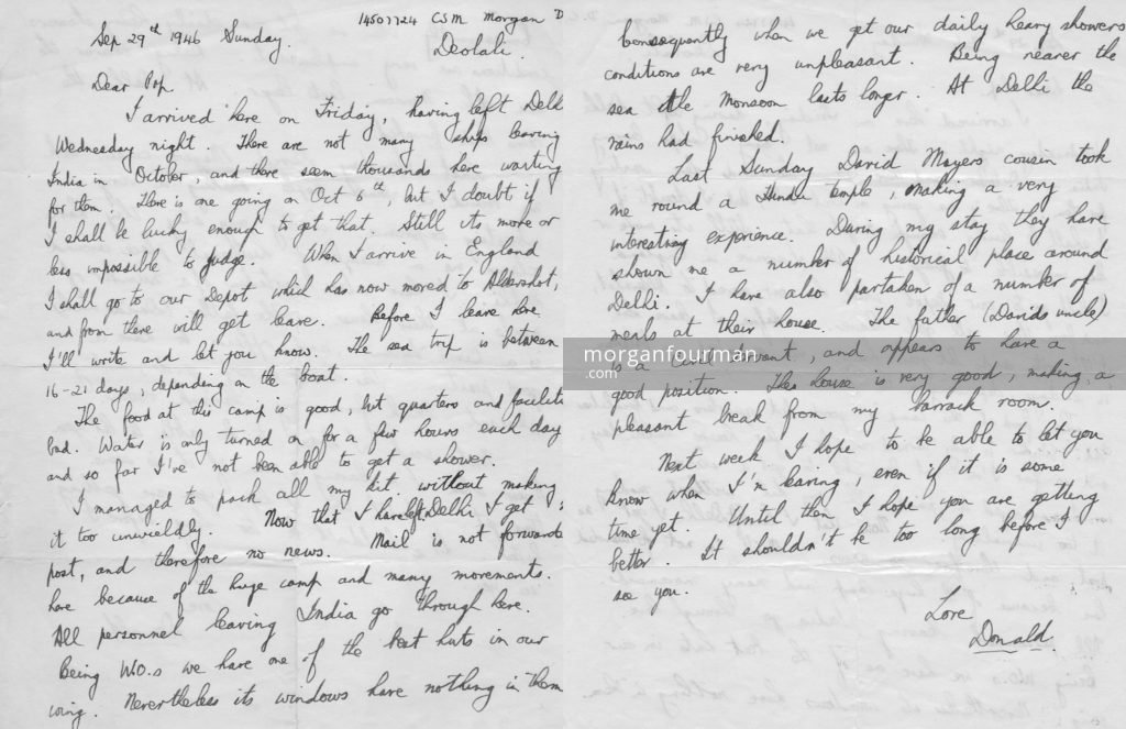 Donald Morgan's letter to his father, Deolali, 29 Sep 1946