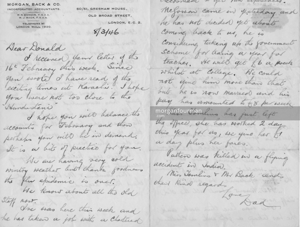 William Henry Morgan's letter to Donald, 8 Mar 1946