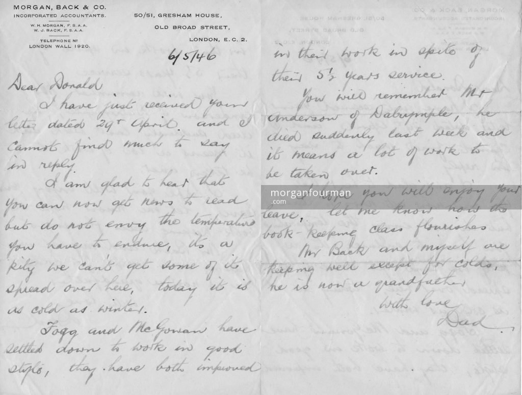 William Henry Morgan's letter to Donald, 6 May 1946