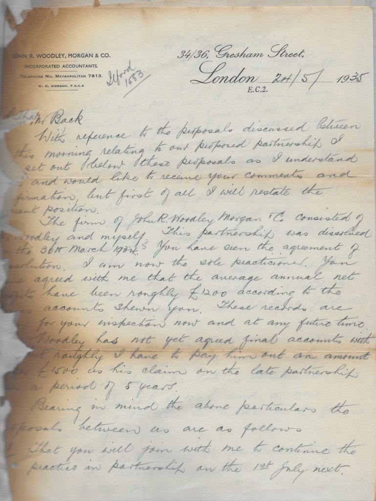Letter proposing the formation of Morgan Back and Co 1935, p. 1