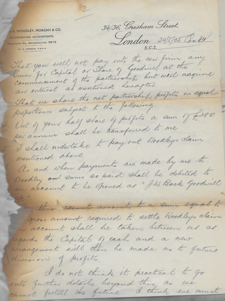 Letter proposing the formation of Morgan Back and Co 1935, p. 2