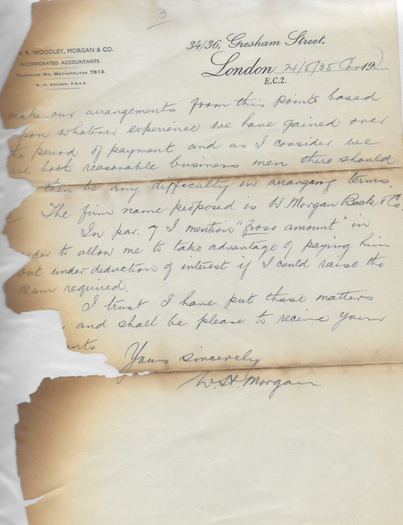 Letter proposing the formation of Morgan Back and Co 1935, p. 3