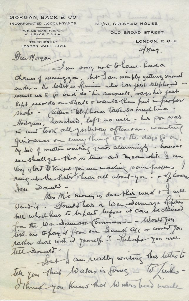 Letter from William Back to William Morgan p1