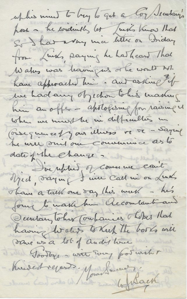 Letter from William Back to William Morgan p2