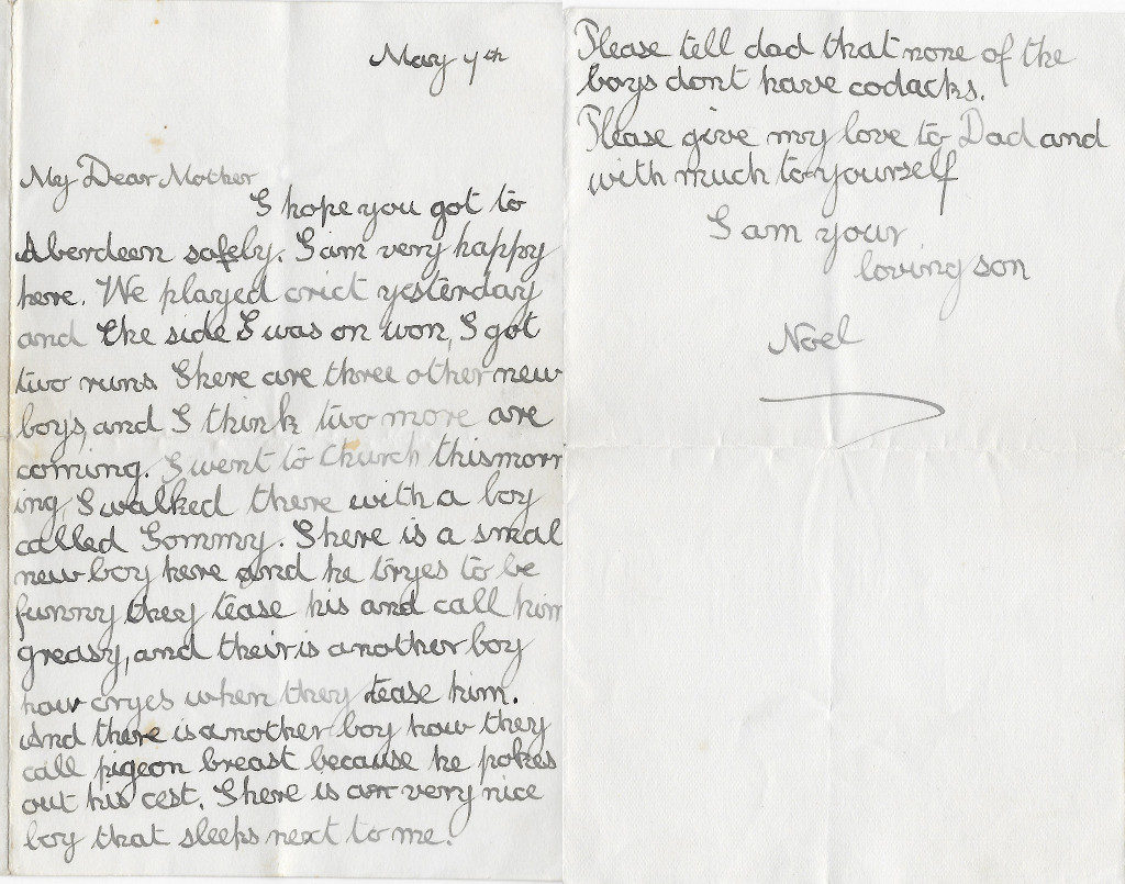 Noel's letter to his mother, Mulgrave, 4 May