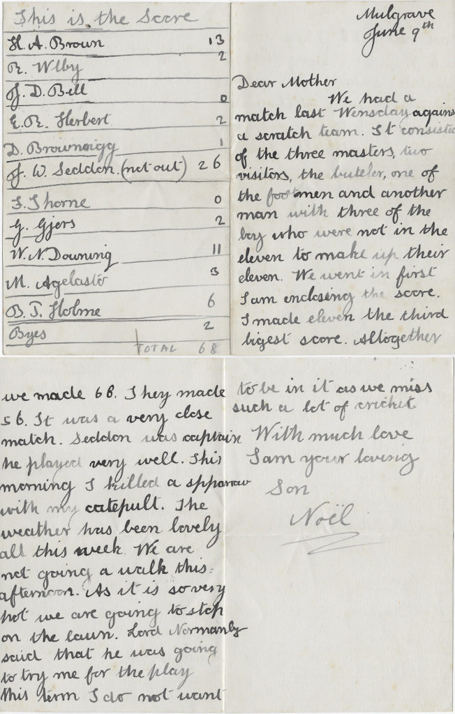 Noel's letter to his mother, Mulgrave, 9 Jun