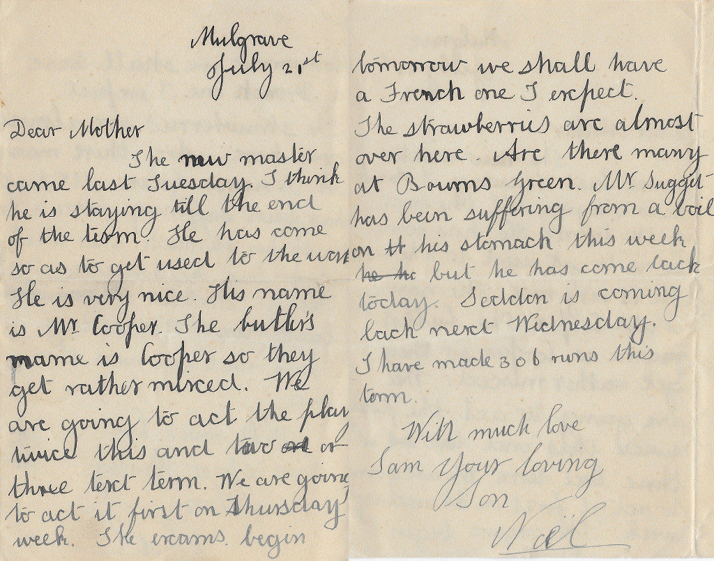 Noel's letter to his mother, Mulgrave, 21 Jul