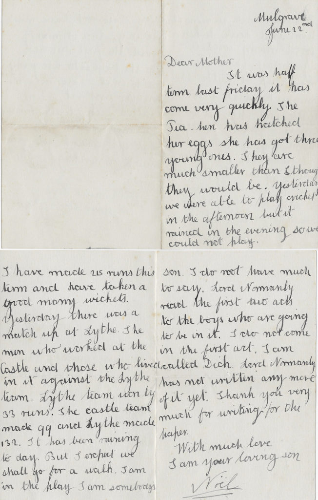 Noel's letter to his mother, Mulgrave, 22 Jun