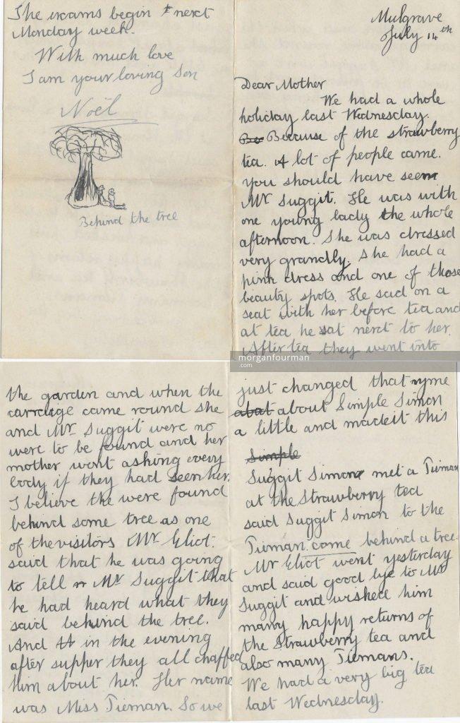 Noel's letter to his mother, Mulgrave, 14 Jul