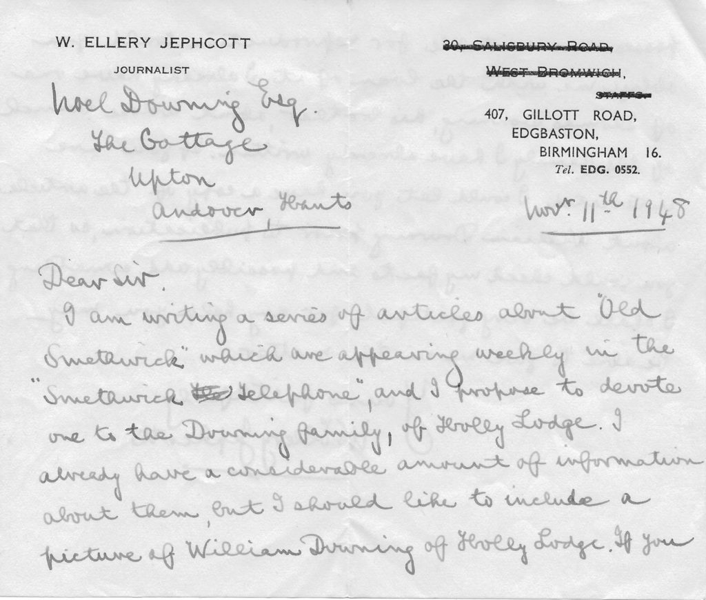 Letter from W Ellery Jephcott to WN Downing 11 Nov 1948