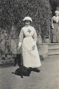 Molly Evans in VAD uniform, The Lawn, Hagley, 1914