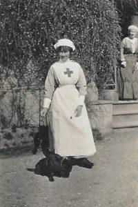 Molly Evans in VAD uniform, The Lawn, Hagley, 1914