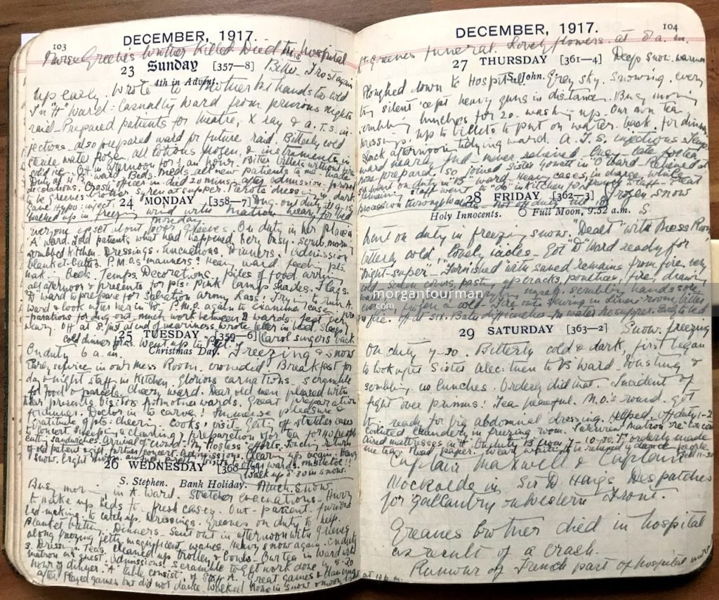Molly Evans's Diary, 23-29 Dec 1917