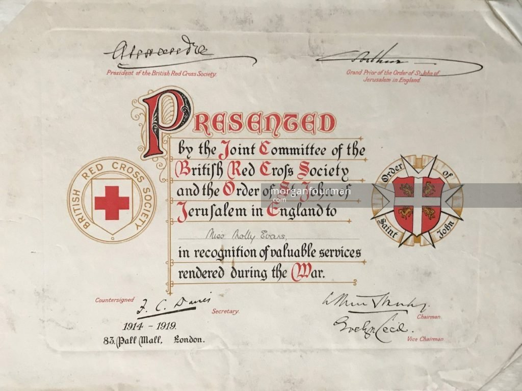 Recognition of Services during the War to Miss Molly Evans, the British Red Cross Society and the Order of St John of Jerusalem in England