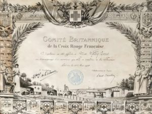 Diploma to Miss Molly Evans in recognition of services during the War in France, the British Committee of the French Red Cross