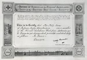 Record of Service to certify that Miss Molly Evans served with the Friends' Ambulance Unit of the British Red Cross Society from Sep 1917 to Dec 1918
