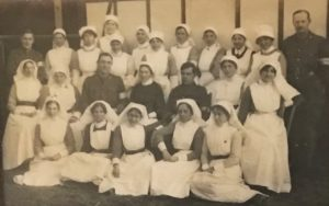 Medical staff, the Queen Alexandra Hospital, FAU, Dunkirk, 1918. Molly is in the middle of front row, above her matron Helena Repton