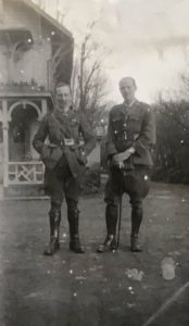 Senior medical staff, the Queen Alexandra Hospital, FAU, Dunkirk, 1918. Possibly Dr H. Nockolds (left) and Dr H.J. Fardon