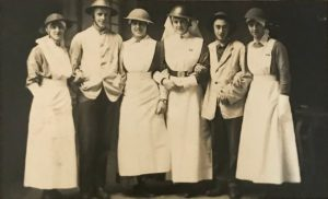 Nurses and servicemen in steel helmets, the Queen Alexandra Hospital, FAU, Dunkirk