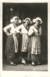 Three girls in costumes possibly performing at the concert mentioned in Molly's Diary