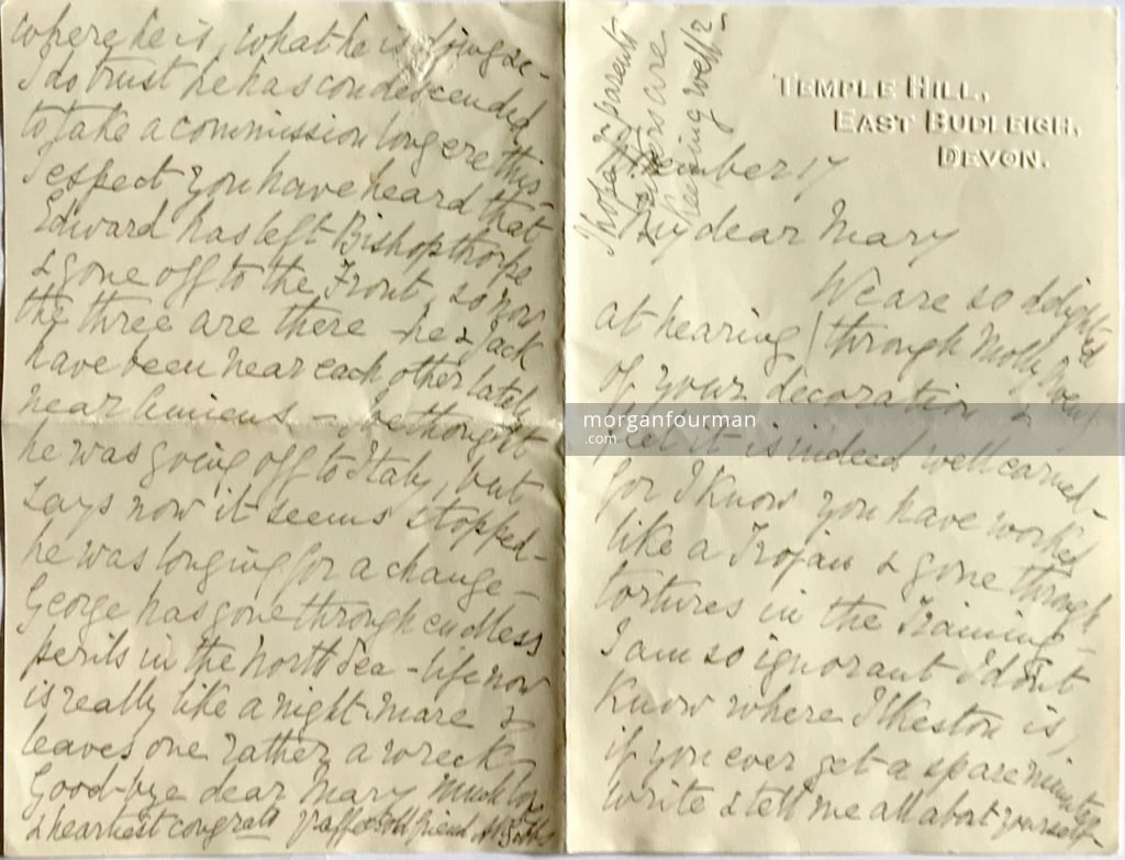 A.K. Gibbs's letter to Mary Downing (pages 1 and 4), Temple Hill, East Budleigh, Devon, 17 Nov 1917