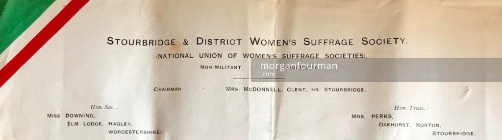 Stourbridge NUWSS headed paper, 1913