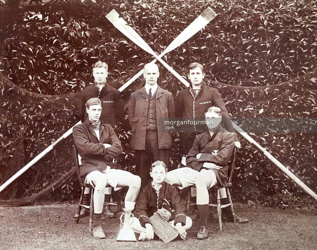 Shrewsbury School, c. 1908. Standing from left - C.W. Evans, Mr W.D. Haydon, W. Milligan, sitting right - J.A. Hartcup