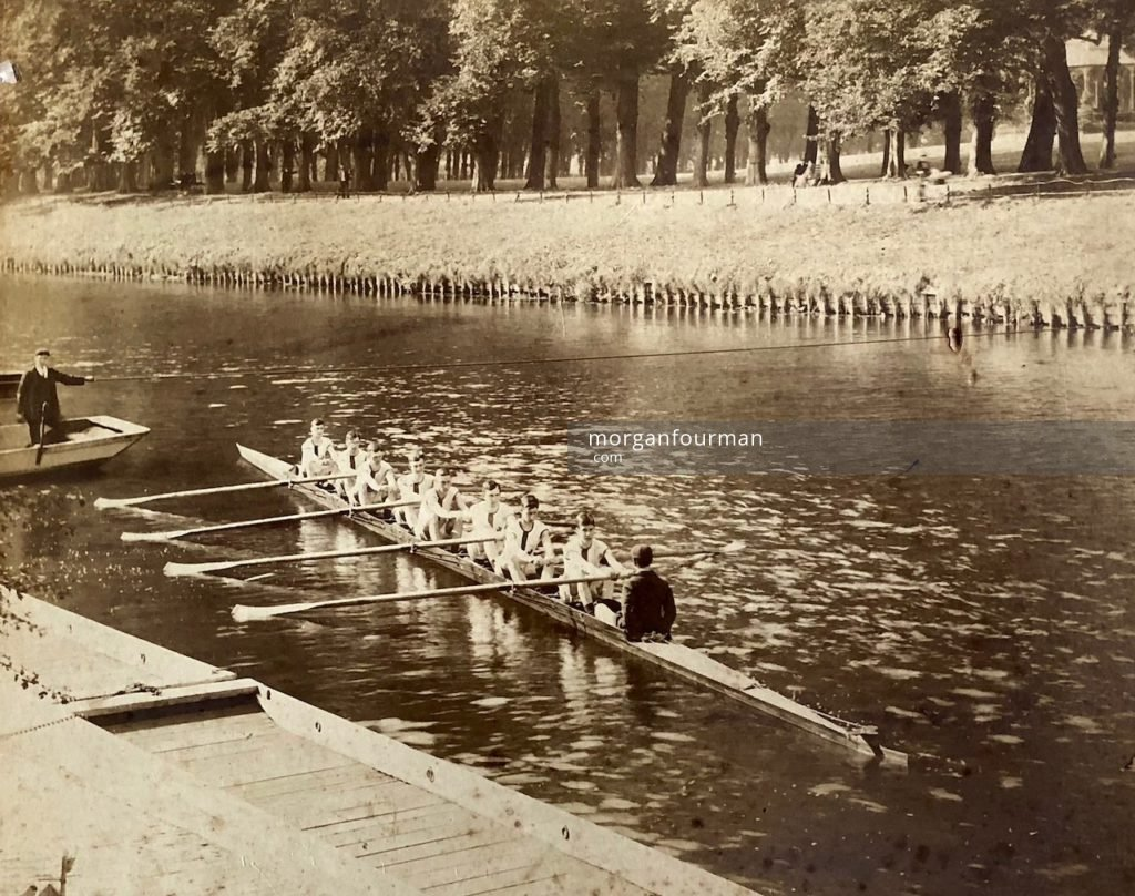 Wilmot Evans coxing with Shrewsbury School Eight, c. 1905
