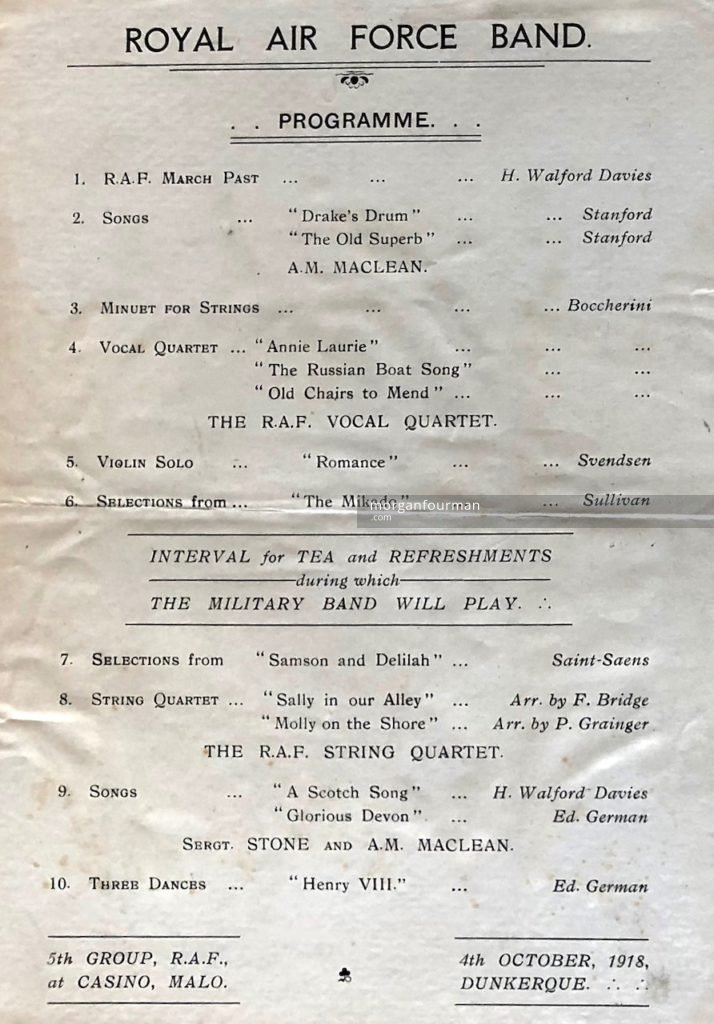 Programme for the RAF Band concert at the Casino, Malo-les-Bains, Dunkirk, 4 Oct 1918