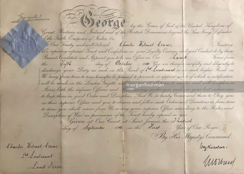 Wilmot Evans' British Army Commission Paper, signed on 30 Sep 1910, appointed from 5 Oct 1910