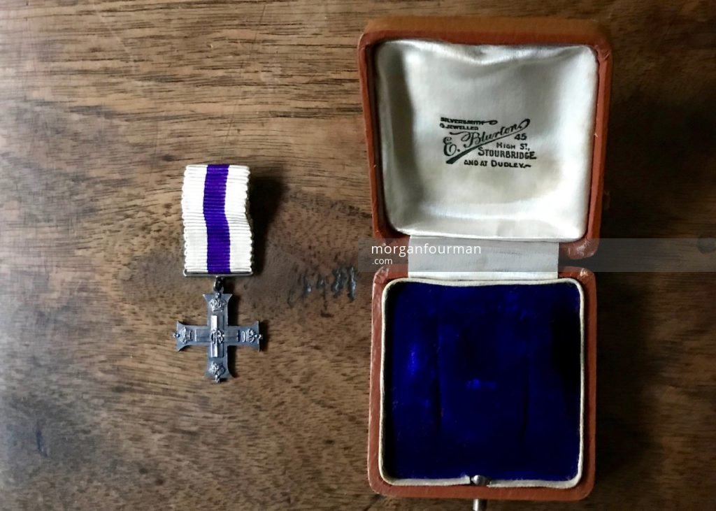 Wilmot Evans's Military Cross, awarded on 23 Jun 1915, received on 12 Aug 1915 at Buckingham Palace