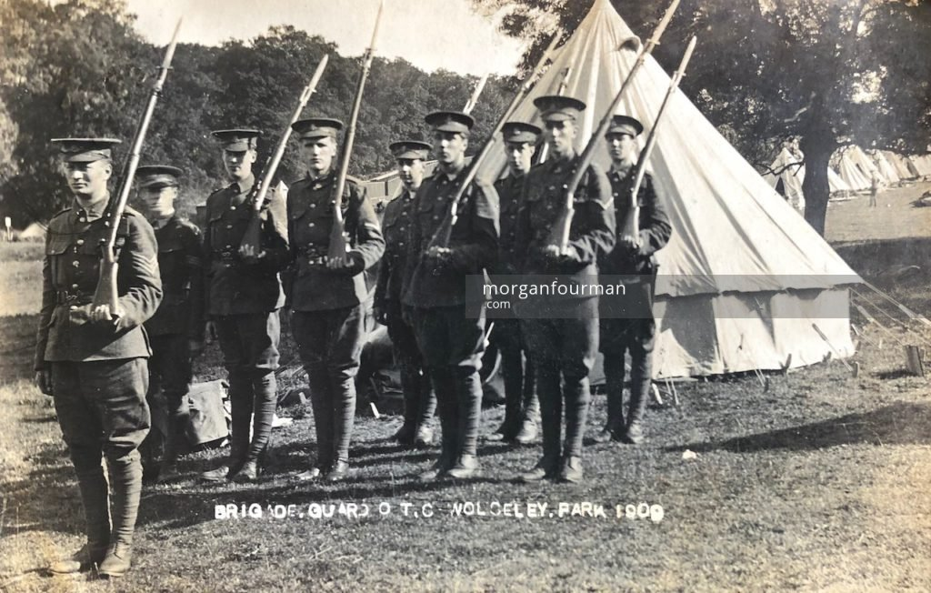 Shrewsbury School Officers' Training Corps, Wolseley Park, 1909. Wilmot Evans is in front