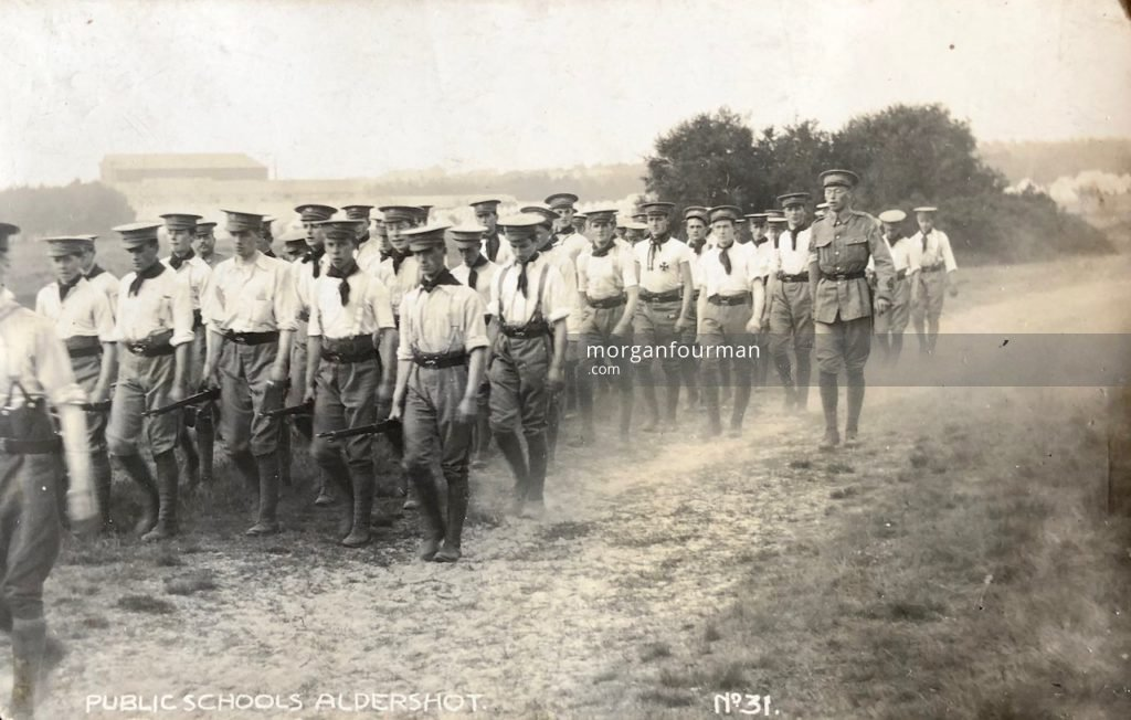 Public Schools Officers' Training Corps, Aldershot, 1910. Wilmot Evans in the last row