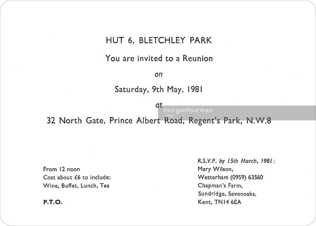Hut 6, Bletchley Park Reunion 1981 invitation card