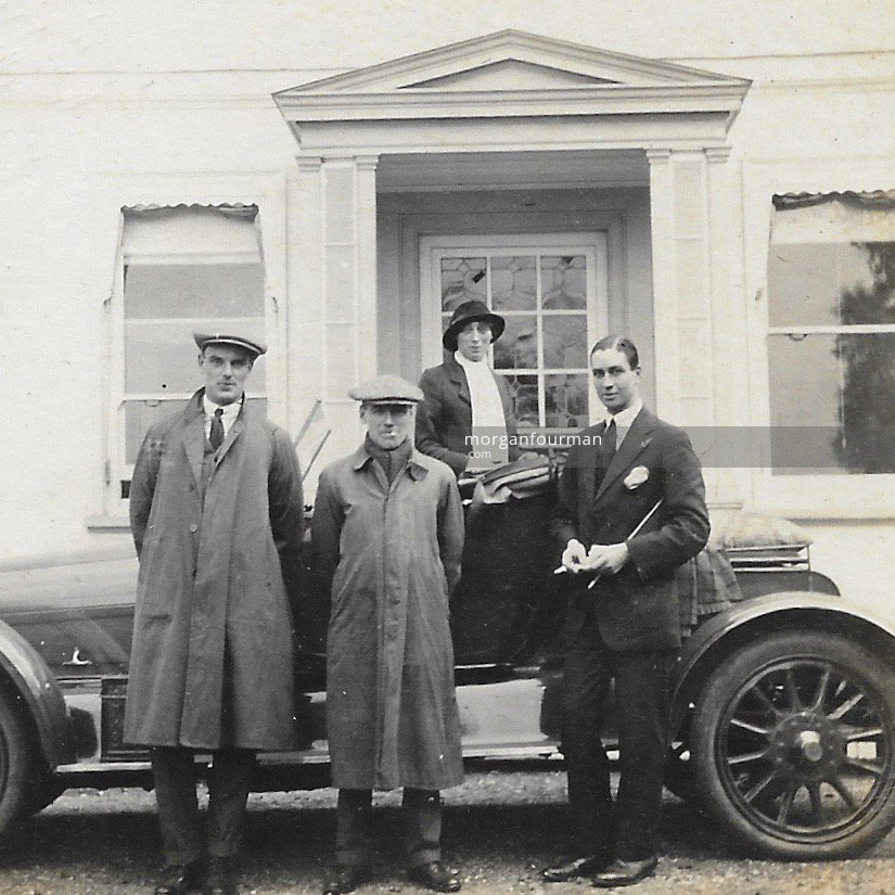 Shooting off to Brighton on a Sunday, Ashtead, 1914. From left: Chandler, Noel, Miss Drew & Spicer