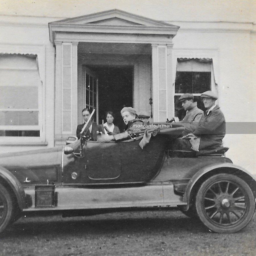 Shooting off to Brighton on a Sunday, Ashtead, 1914. In the car: Thompson & Noel in front, Webster & Tree behind. Miss Drew & Spicer left behind