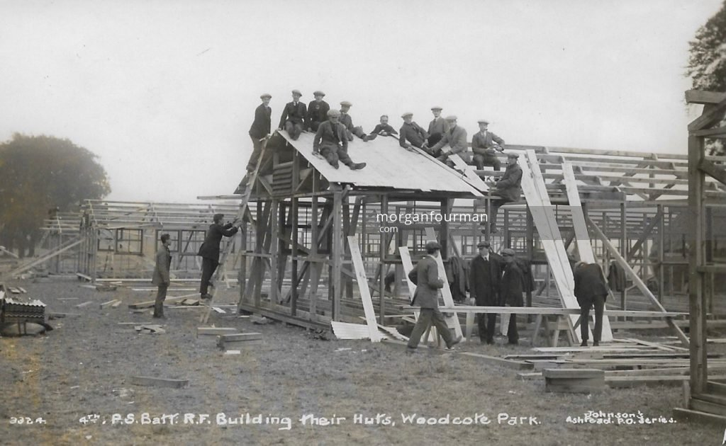 4th Public Schools Battalion Royal Fusiliers, Building their huts, Woodcote Park. Johnson's Ashtead P.O. Series