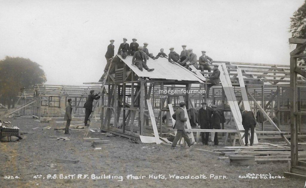 4th Public Schools Battalion Royal Fusiliers, Building their huts, Woodcote Park. Johnson's Ashtead P.O. Series