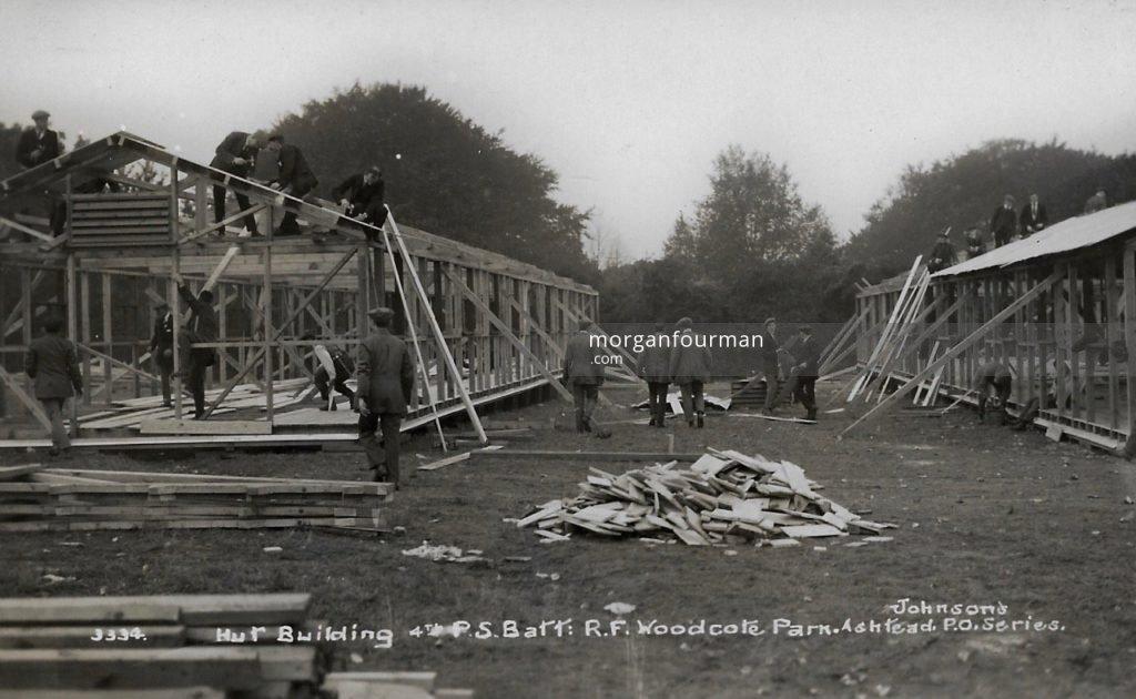 Hut building, 4th Public Schools Battalion Royal Fusiliers, Woodcote Park. Johnson's Ashtead P.O. Series