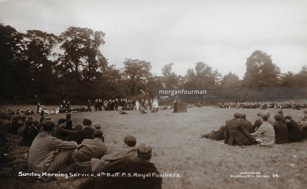 Sunday Morning Service, 4th Public Schools Battalion Royal Fusiliers. Johnson's Ashtead P.O. Series