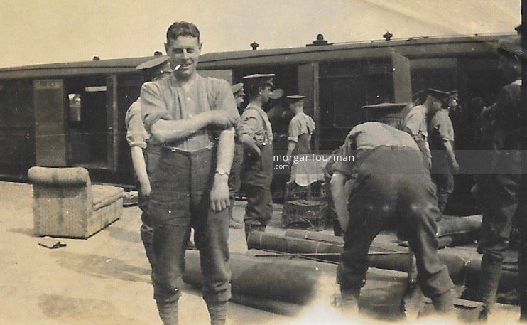 Unloading furnishings for Woodcote Camp, 21st Battalion (4th Public Schools) Royal Fusiliers, Epsom, 1915