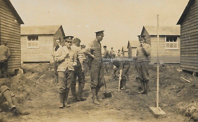 Digging roads. 21st Battalion (4th Public Schools) Royal Fusiliers, Woodcote Camp, Epsom, 1915