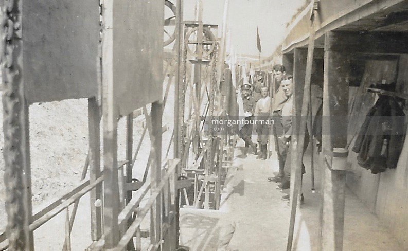 Constructing a cinema. 21st Battalion (4th Public Schools) Royal Fusiliers, Woodcote Camp, Epsom, 1915. Noel on the right