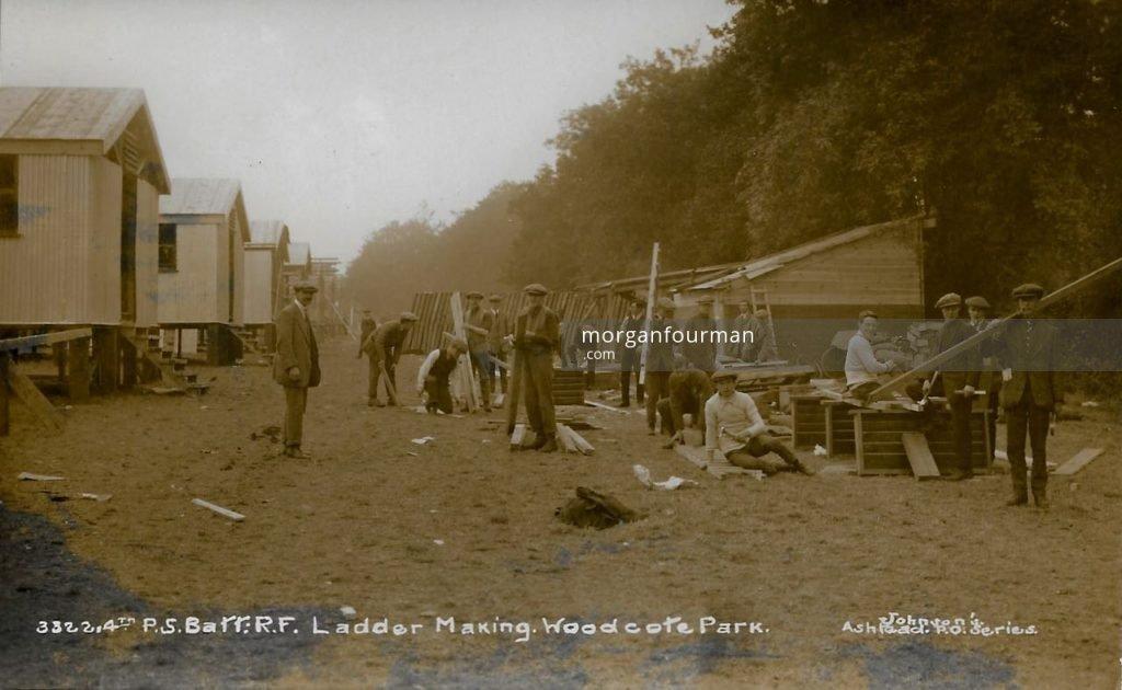 4th Public Schools Battalion Royal Fusiliers, Ladder making, Woodcote Park. Johnson's Ashtead P.O. Series