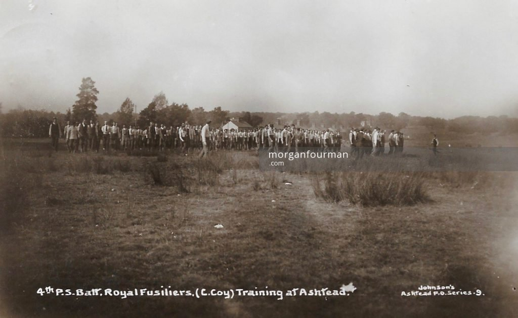 4th Public Schools Battalion Royal Fusiliers, (C Company) Training in Ashtead. Johnson's Ashtead P.O. Series