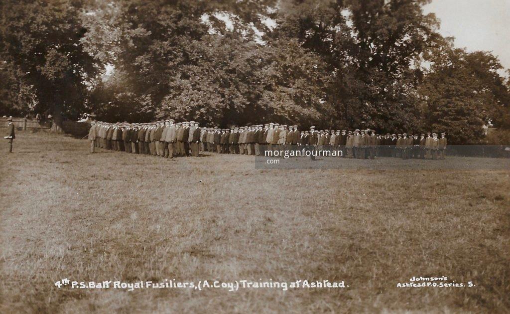 4th Public Schools Battalion Royal Fusiliers, (A Company) Training in Ashtead. Johnson's Ashtead P.O. Series