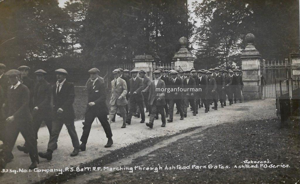 No 1 Company Public Schools Battalion Royal Fusiliers, Marching through Ashtead Park Gates. Johnson's Ashtead P.O. Series
