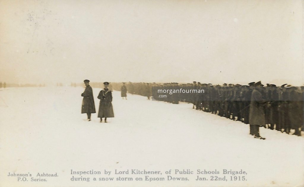 Inspection by Lord Kitchener of Public Schools Brigade during a snow storm on Epsom Downs 22 Jan 1915. Johnson's Ashtead P.O. Series
