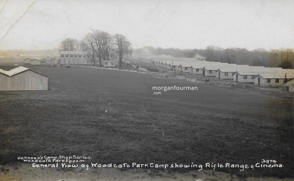 General view of Woodcote Park Camp showing Rifle Range & Cinema. Johnson's Camp Shop Series