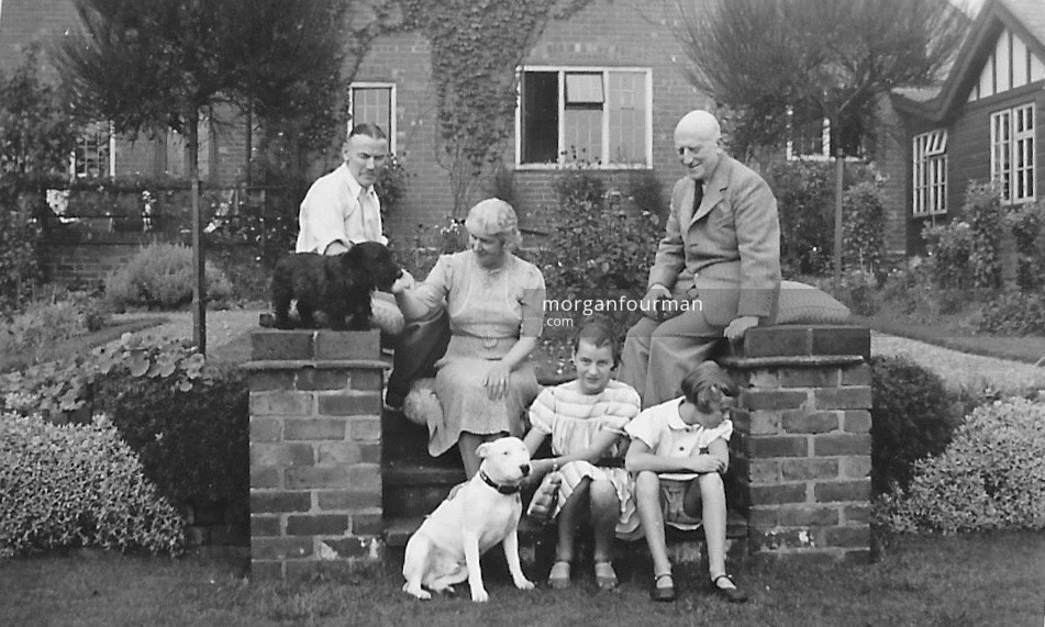 Balfour (right) and Olive Trotter with Noel, Hazel and Jill Downing, 47 Selwyn Rd, Edgbaston, 11 Sep 1938